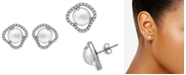 Macy's Imitation Pearl Cubic Zirconia Halo Button Earring in Fine Silver Plate