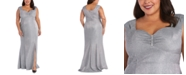 R & M Richards Plus Size Sweetheart Metallic Gown