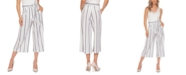 Black Tape Striped Belted Culotte Pants