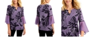 JM Collection Printed Pleated-Sleeve Top, Created for Macy's
