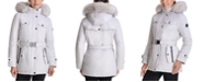 Michael Kors Belted Faux-Fur-Trim Hooded Down Puffer Coat