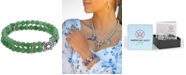 American West Green Aventurine Bead Turtle Stretch Bracelet in Sterling Silver