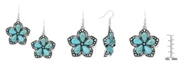 Macy's Simulated Turquoise Silver Plated Flower Wire Earrings