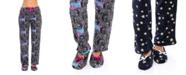 Sporto Women's Pajama Pant & Slipper 2pc Set