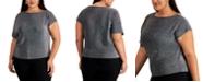 Alfani Plus Size Metallic Asymmetrical-Sleeve Top, Created for Macy's
