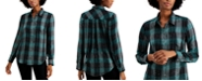 Style & Co Sparkle Plaid-Print Shirt, Created for Macy's