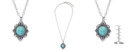 Macy's Simulated Turquoise in Silver Plated Filigree Design Pendant Necklace