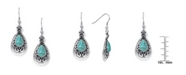 Macy's Simulated Turquoise in Silver Plated Teardrop Wire Earrings