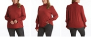 Adyson Parker Women's Plus Size Long Sleeve Fitted Turtle Neck Top with Lettuce Edge Detail
