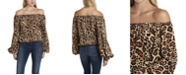 Vince Camuto Women's Off Shoulder Animal Print Balloon Sleeve Blouse