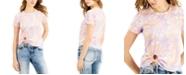 Self Esteem Juniors' Tie-Dye Printed Tie-Front T-Shirt