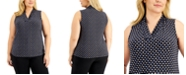 Anne Klein Plus Size Pearly Dot Pleated Top