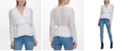 DKNY Pleated V-Neck Wrap Blouse