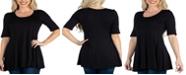 24seven Comfort Apparel Women's Elbow Sleeve Swing Tunic Top