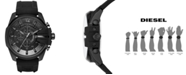 Diesel Men's Chronograph Mega Chief Black Silicone Strap Watch 51x59mm DZ4378