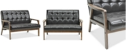 Furniture Caden Mid-Century Faux Leather Loveseat
