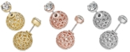 INC International Concepts I.N.C. Filigree Spheres and Crystal Stud Reversible Earrings, Created for Macy's