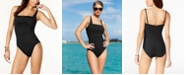 Calvin Klein Pleated One-Piece Swimsuit,Created for Macy's