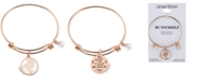 Unwritten Hummingbird Bangle Bracelet in Rose Gold-Tone Stainless Steel