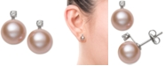 Belle de Mer Pink Cultured Freshwater Pearl (8mm) & Diamond Accent Stud Earrings in 14K White Gold