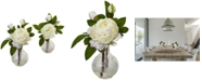 Nearly Natural Peony Artificial Arrangement with Glass Vase, Set of 2
