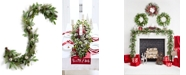 Martha Stewart Collection Lightly Frosted Garland with Champagne Color Mercury Glass Balls, Created for Macy's