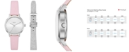 DKNY Women's Modernist Pink Leather Strap Watch 32mm Gift Set, Created for Macy's
