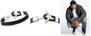 LEGACY for MEN by Simone I. Smith Anchor Clasp Black Leather Bracelet in Stainless Steel