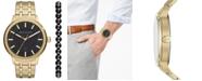 A|X Armani Exchange Men's Maddox Gold-Tone Stainless Steel Bracelet Watch 46mm Box Set