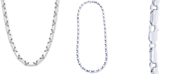 "Macy's Men's Polished Rounded Link 24"" Chain Necklace in Sterling Silver"