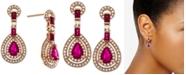 Macy's Certified Ruby (1-1/2 ct. t.w.) & Diamond (1/2 ct. t.w.) Drop Earrings (Also in Sapphire)