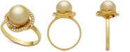 Macy's Cultured Golden South Sea Pearl (9mm) & Diamond (1/5ct. t.w.) Ring in 14k Gold
