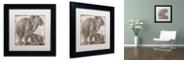 "Trademark Global Color Bakery 'Elephant 2' Matted Framed Art, 11"" x 11"""