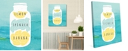 "Creative Gallery Lemon Spinach Banana On Watercolor 20"" X 24"" Canvas Wall Art Print"