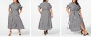 Calvin Klein Plus Size Gingham Midi Shirtdress