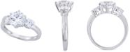 Arabella Swarovski Zirconia Three Stone Ring in 14k White Gold