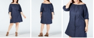 Love Squared Trendy Plus Size Cotton Chambray Dress