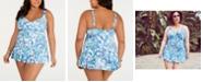 Lauren Ralph Lauren Plus Size Fiesta Paisley Printed Skirted Swimdress