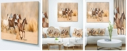 "Design Art Designart Herd Gallops In Sand Storm Photography Canvas Art Print - 40"" X 30"""