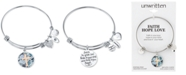 Unwritten Cross Message & Heart Charm Bangle Bracelet in Stainless Steel & Rose Gold-Tone