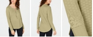 American Rag Juniors' Lace-Up Henley Top, Created for Macy's