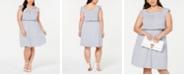 Monteau Trendy Plus Size Striped Blouson Dress