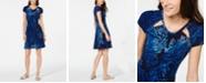 Michael Kors Cutout-Neck Printed Fit & Flare Dress, Regular & Petite