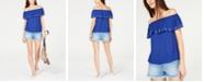 Michael Kors Off-The-Shoulder Ruffle Top & Frayed Denim Shorts
