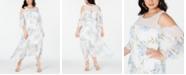 Robbie Bee Plus Size Cold-Shoulder Floral Maxi Dress