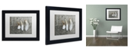 """Trademark Global Cora Niele 'Three Feathers on Wood' Matted Framed Art - 11"""" x 14"""" x 0.5"""""""