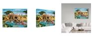 "Trademark Global Howard Robinson 'Three Elephants' Canvas Art - 19"" x 14"" x 2"""