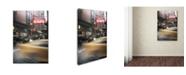"Trademark Global Moises Levy 'Cafe And Cab Rain' Canvas Art - 47"" x 30"" x 2"""