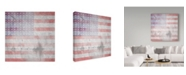 "Trademark Global lightbox Journal 'American Born Stars N Stripes' Canvas Art - 35"" x 35"" x 2"""