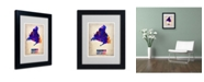 "Trademark Global Naxart 'Madrid Watercolor Map' Matted Framed Art - 14"" x 11"" x 0.5"""